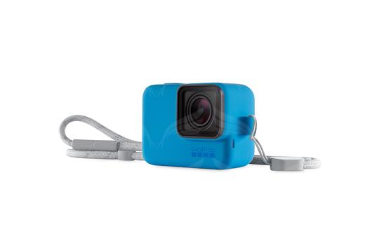 GoPro mėlynas silikoninis įdėklas su virvele / Sleeve + Lanyard (Blue)