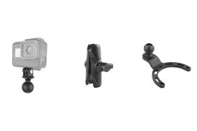 RAM komplektas skirtas veiksmo kameroms (apatinis laikiklis, kuris tvirtinasi ant motociklo degalų bako dangtelio)