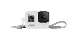 GoPro HERO8 silikoninis įdėklas su virvele / Sleeve + Lanyard (White Hot)