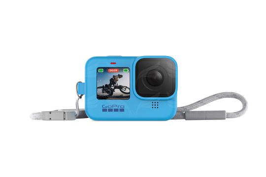 GoPro HERO9 kameros silikoninis įdėklas su virvele (mėlynas) / Sleeve + Lanyard (Blue)