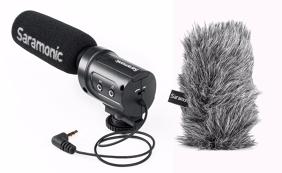 Saramonic SR-M3 mikrofonas su M3-WS pūkuota apsauga nuo vėjo